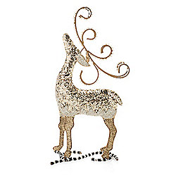 475-902 MacKenzie-Childs 18 Hand-Painted Silver Lining Deer - 475-902