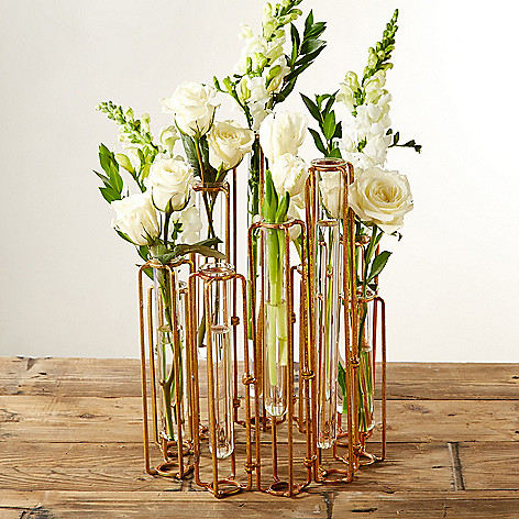 Twos Company Set Of 10 Hinged Flower Vases W Antiqued Gold Tone