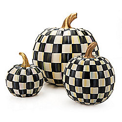 Holiday Decor - MacKenzie-Childs Set of 3 Hand-Painted Courtly Check Pumpkins - 476-199
