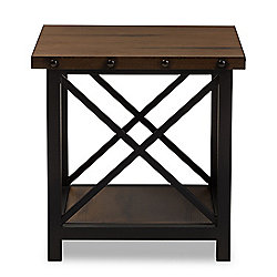 Furniture at Evine - Baxton Studio 'Herzen' 24-inch Rustic Industrial Antique-Style End Table - 476-432 - 476-432