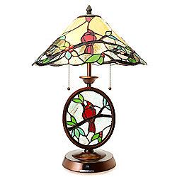 476-531 Tiffany-Style 22.75 Cardinal Meets Chickadee Table Lamp w USB Port - 476-531