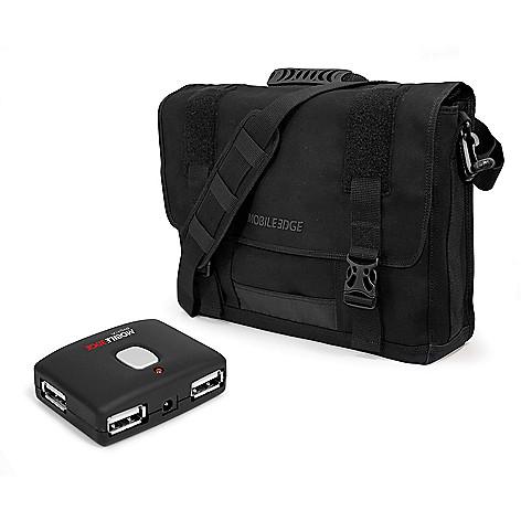 476 727 Mobile Edge Cotton Canvas 17 3 Laptop Messenger Bag W 4