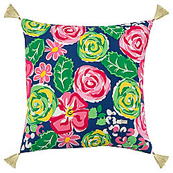 "Simply Southern by Rizzy Home 18"" x 18"" Multi Color Floral Decorative Pillow"