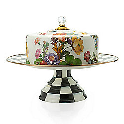 Dining & Entertaining 476-913 MacKenzie-Childs Hand-Decorated Enamelware Pedestal Platter w Dome - 476-913