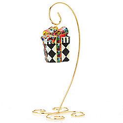 476-915 MacKenzie-Childs Harlequin 3.5 Hand-Painted Present Glass Ornament w Stand - 476-915