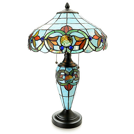 Tiffany Style Essence 22 5 Double Lit Stained Glass Table Lamp Evine