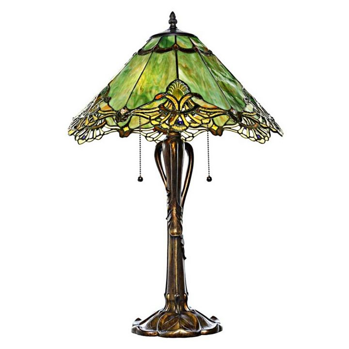 Day Break Deal at ShopHQ |  477-946 Final quantities of 2019 - 24.5 Crystal Lace Stained Glass Table Lamp