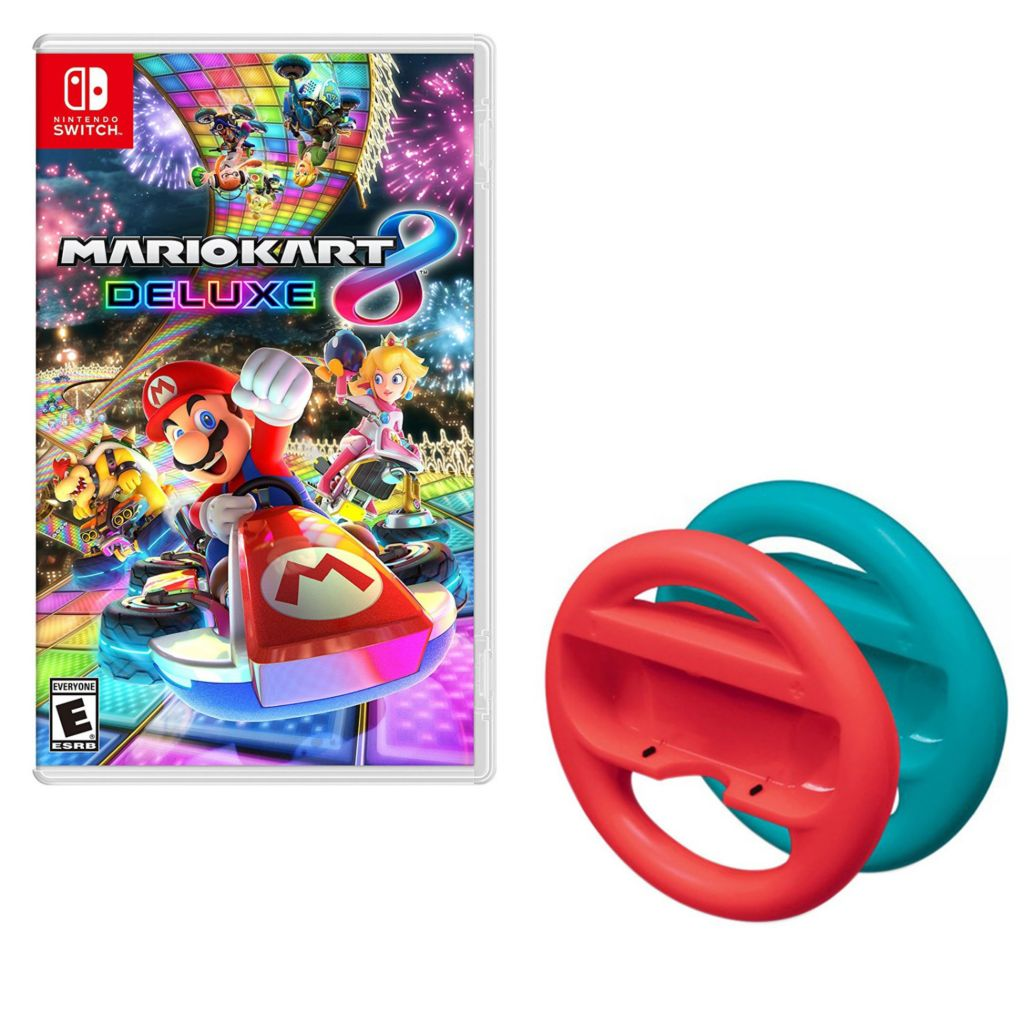 Nintendo Switch Mario Kart 8 Deluxe Game w/ Red & Blue Steering Wheel  Controller Cases