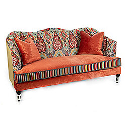 MacKenzie-Childs Boheme 74 Loveseat w 2 Decorative Pillows - 478-550