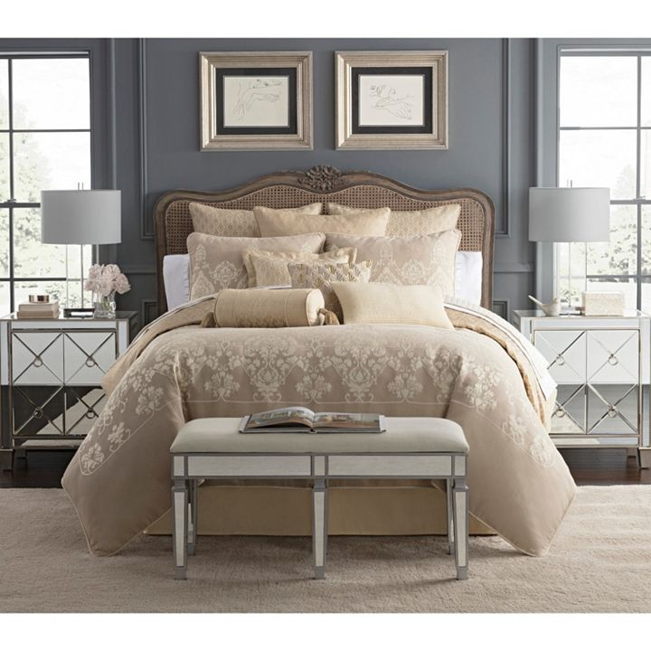 Waterford at ShopHQ | 478-834 Waterford Abrielle Champagne Reversible 4-Piece Comforter Set