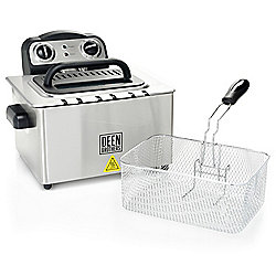 Deen Brothers 1650W 4.2 qt Stainless Steel Deep Fryer w/ Frying Basket