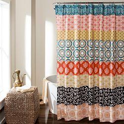 Bath Essentials 479-964 Lush Decor Bohemian 72 Striped Shower Curtain - 479-964