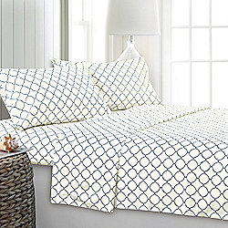 Bedding - 480-037 Cozelle® 'Belle du Jour' Microluxe™ Lattice Print 4-Piece Sheet Set - 480-037