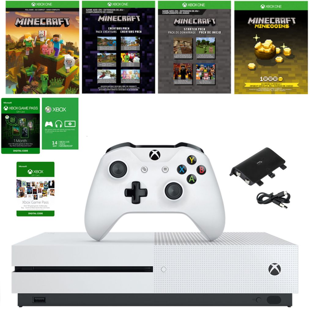Microsoft Xbox One S 1TB Console w/ Minecraft Download, Game Pass &  Accessories