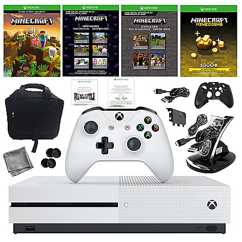 Microsoft Xbox One S 1TB Console w/ Bag Minecraft Download Wireless Controller & Accessories