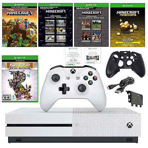 Microsoft Xbox One S 1TB Console w/ Minecraft Downloads, Rare Replay Game & Accessories