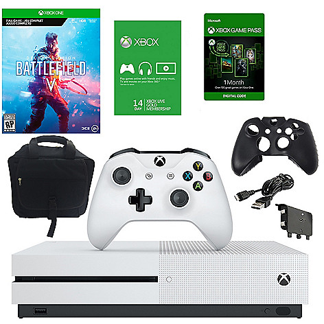 Microsoft Xbox One S 1TB Console w/ Bag Battlefield V Download & Accessories