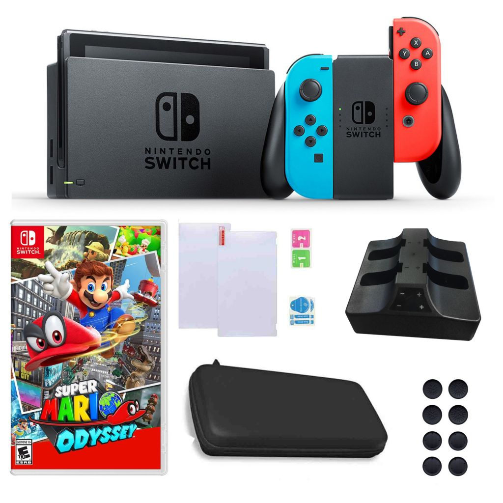 Nintendo Switch Console W Mario Odyssey Game Charging Dock Carry Case Accessories
