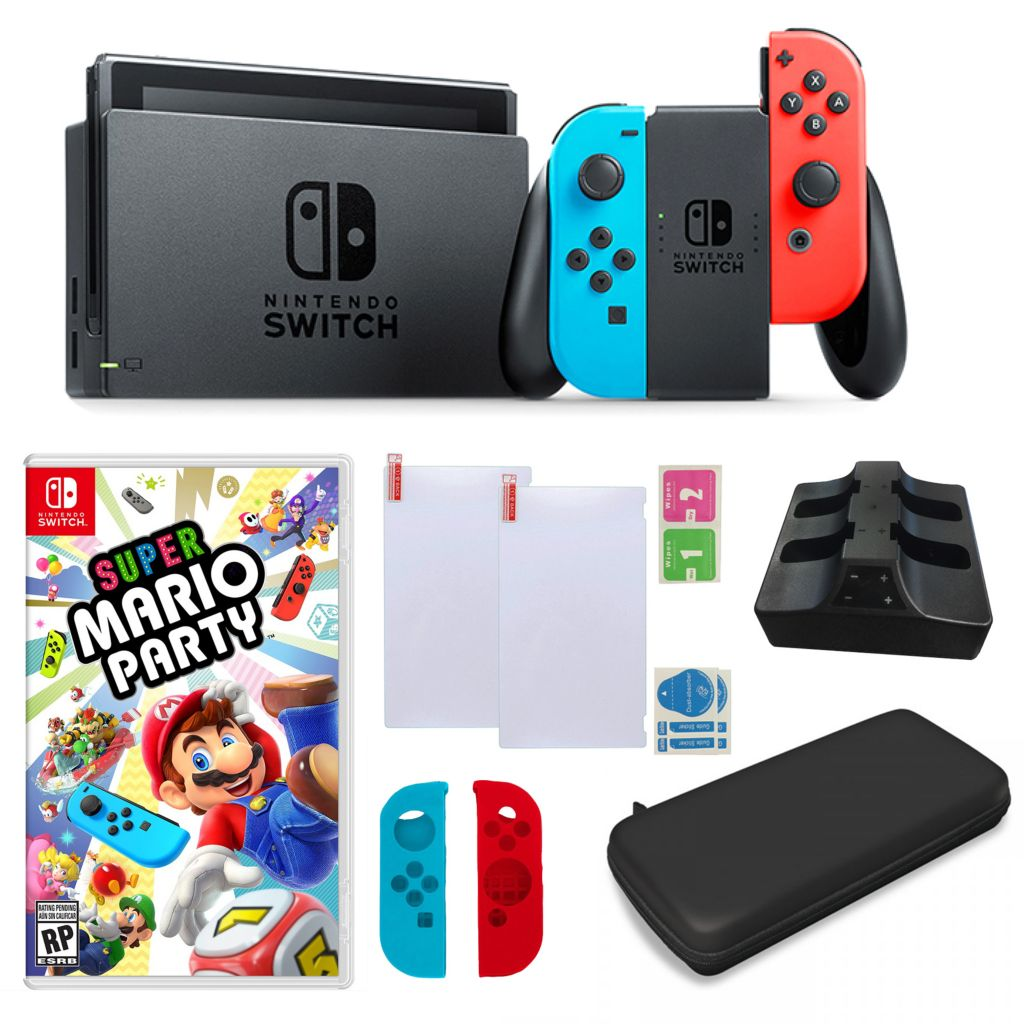 Nintendo Switch Console w/ Mario Party Game, Hard Shell Case, Charging Dock  & Accessories