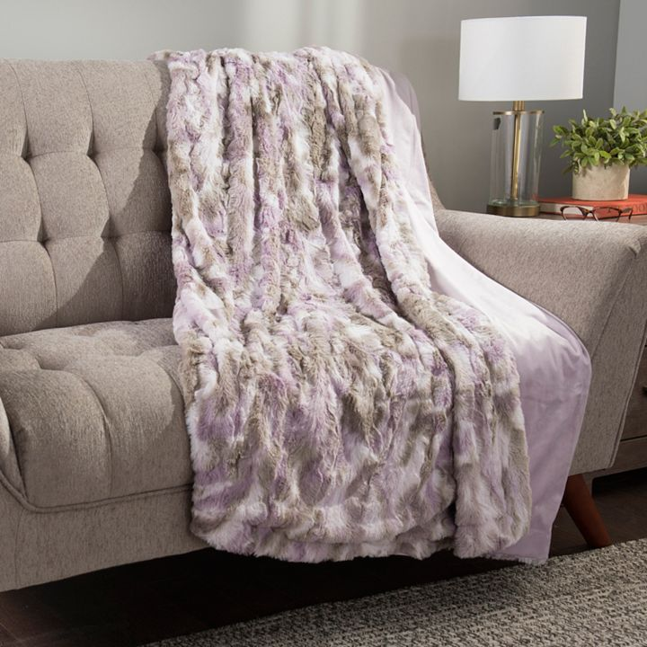 Home at ShopHQ | 480-704 North Shore Living™ Versailles 60 x 80 All Season Pastel Ombre Plush Faux Fur Throw