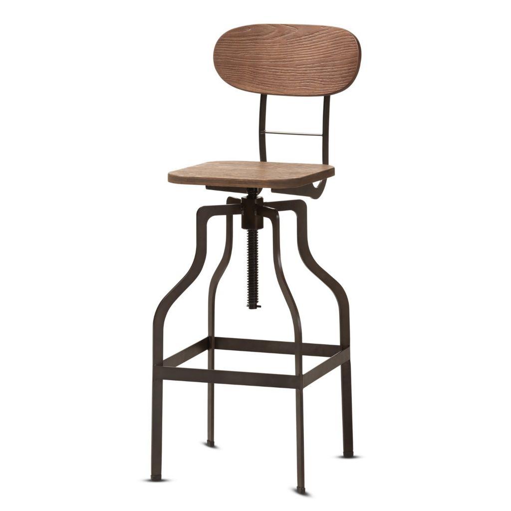 Cool Baxton Studio 27 5 Varek Wood Rust Style Steel Adjustable Swivel Bar Stool W Backrest Uwap Interior Chair Design Uwaporg