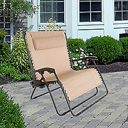 Pure Garden Zero Gravity Foldable Loveseat w/ Pillow Headrest & Cup Holder