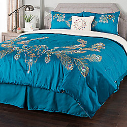 "Cozelle® ""Peacock"" Embroidered 5-Piece Comforter Set"