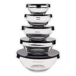 Chef Buddy 5-Piece Glass Food Storage Container Set w Snap Lids - 482-102