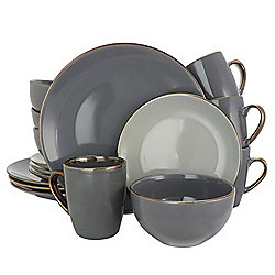 Elama Tahitian Grand 16-Piece Grey Stoneware Dinnerware Set