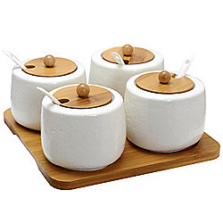 "Elama Set of 4 (6"") Ceramic Jars w/ Bamboo Lids & Serving Spoons"