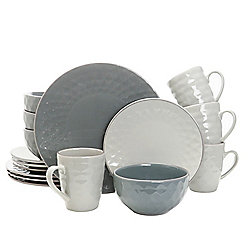 Elama Tahitian Pearl 16-Piece Two-tone Grey Stoneware Dinnerware Set