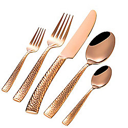 Gibson Elite Stonehenge 20-Piece Rose Gold Stainless Steel Flatware Set