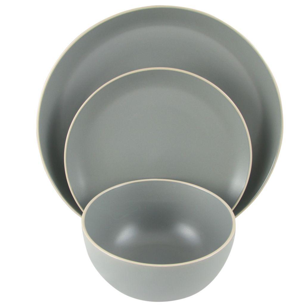 Gibson Home Rockaway 12-Piece Grey Stoneware Dinnerware Set