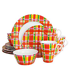 Oui by French Bull Multi Plaid 16-Piece Glazed Porcelain Dinnerware Set