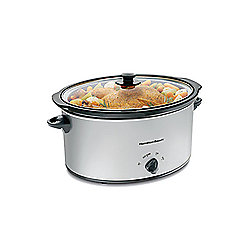 Hamilton Beach Chrome 7 qt Slow Cooker w/ Glass Lid & Lid Latch Strap