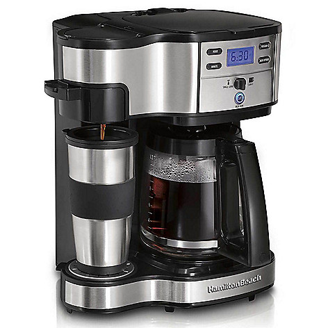 906bb23f445 Hamilton Beach 2-Way Coffee Maker w/ 12-Cup Carafe, Pod Brewing & 14 oz  Travel Mug