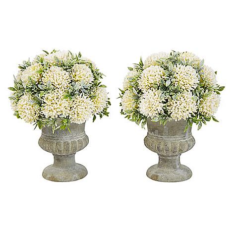 Pure Garden Set Of 2 Glitter Faux Foliage Arrangement W Decorative