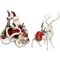 "Mark Roberts Limited Edition 52"" Coming to Town Santa w/ Sleigh & Reindeer"
