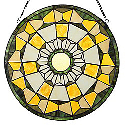 "Tiffany-Style 18"" Stained Glass Golden Leaves Window Panel"