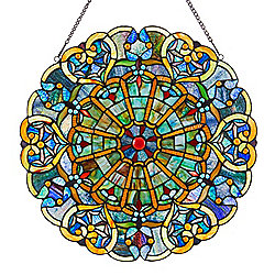 "Tiffany-Style 22"" Webbed Heart Stained Glass Window Panel"