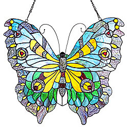 "Tiffany-Style 20.5"" Stained Glass Swallowtail Butterfly Window Panel"