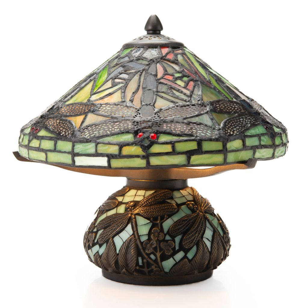 Tiffany Style Dragonfly 10 5 Stained Gl Mosaic Base Table Lamp
