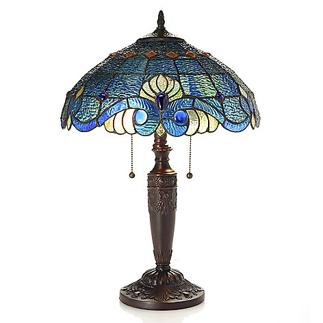 TiffanyStyle_Swirling_Shells_205 Stained_Glass_Table_Lamp