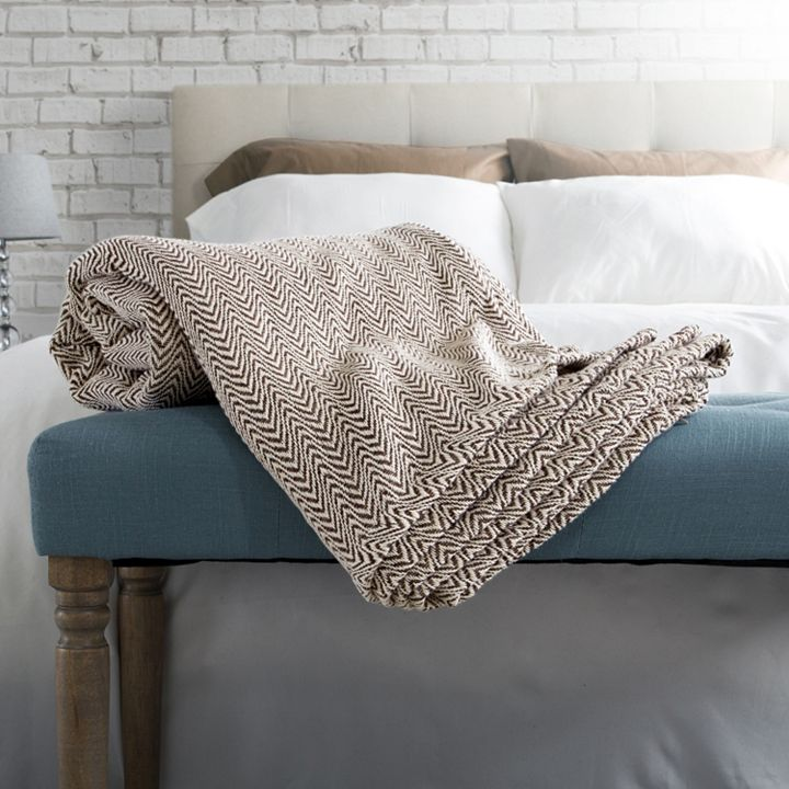 Cozy Home Add Warmth & Comfort at ShopHQ - 484-277 North Shore Living™ 100% Cotton Chevron Knit Blanket