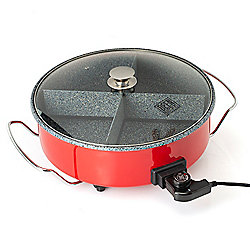 Grill & Griddles at ShopHQ 484-300 Deen Brothers 1400W 16 9.2 qt GranIT Nonstick Electric Skillet w 4-Way Divider - 484-300