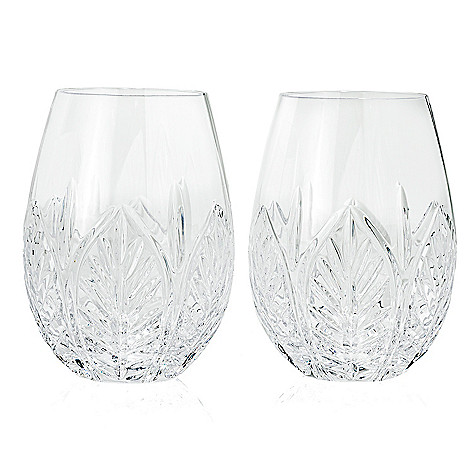 aa70b1c69b4 484-416- Waterford Crystal Acanthus Set of 2 22 oz All Purpose Stemless Wine