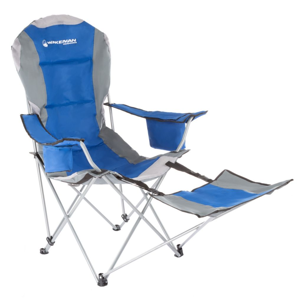 Superb Wakeman Outdoors 45 Reclining Collapsible Camp Chair W Footrest Cup Holder Cooler Carry Bag Creativecarmelina Interior Chair Design Creativecarmelinacom