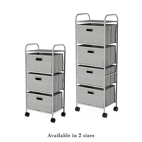 25f0ab74ff7 484-656- Lavish Home Choice of Drawers Rolling Storage Cart w/ Fabric Bins