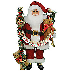 "Karen Didion Originals 20"" Handmade Lighted Musical Santa"
