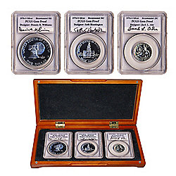 Franklin Mint 1976 Silver Bicentennial Proof San Francisco 3-Piece Coin Set - Signed